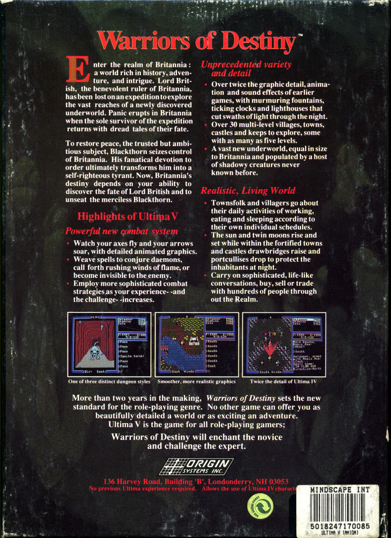Ultima V: Warriors of Destiny Amiga Back Cover