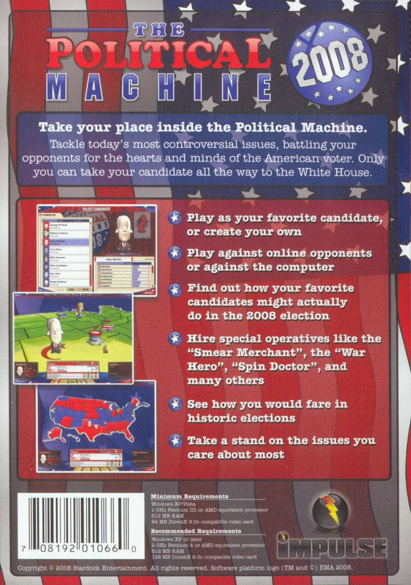 The Political Machine 2008 Windows Other Slip Case - Back