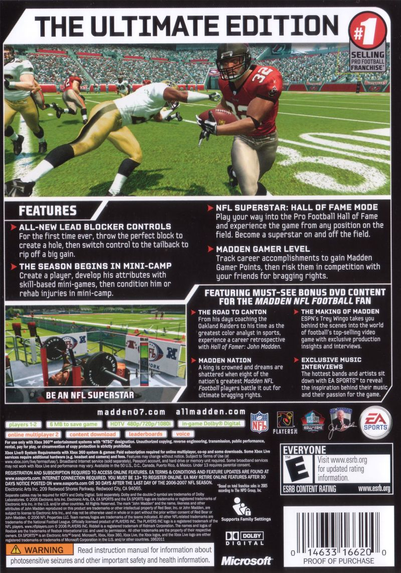 Madden NFL 07 (Hall of Fame Edition) Xbox 360 Other Keep Case - Back