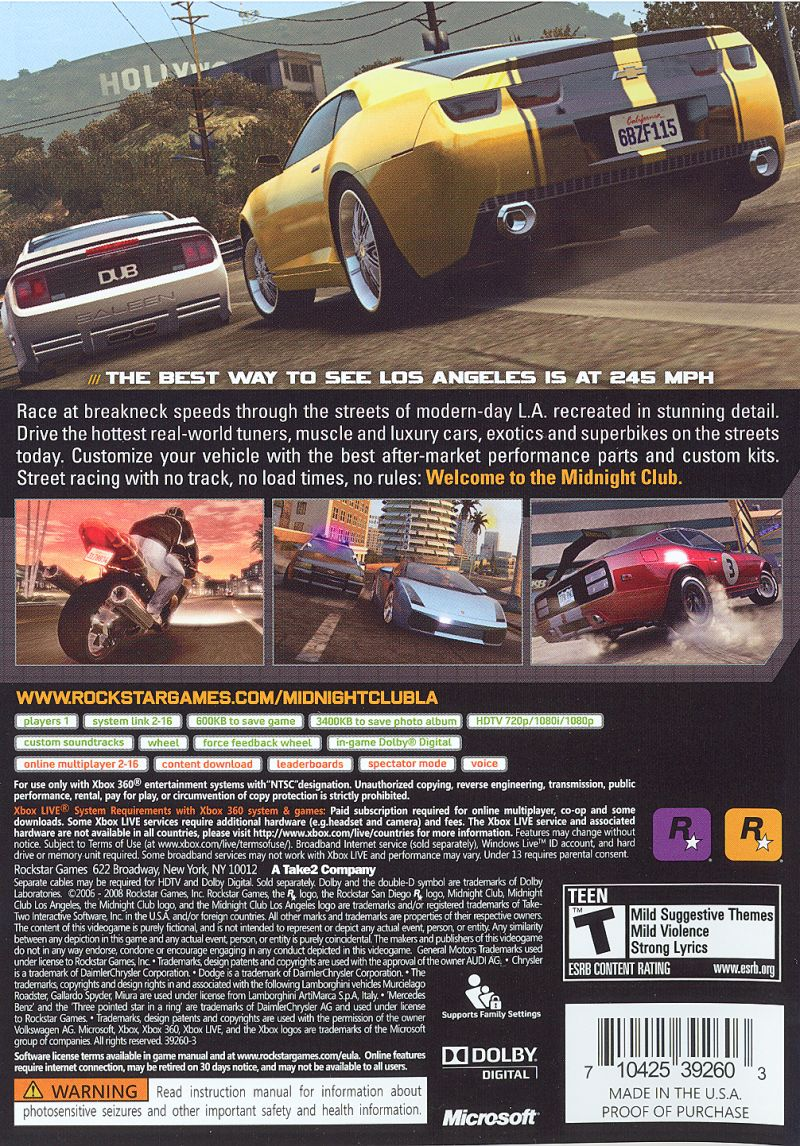 Midnight Club: Los Angeles Xbox 360 Back Cover