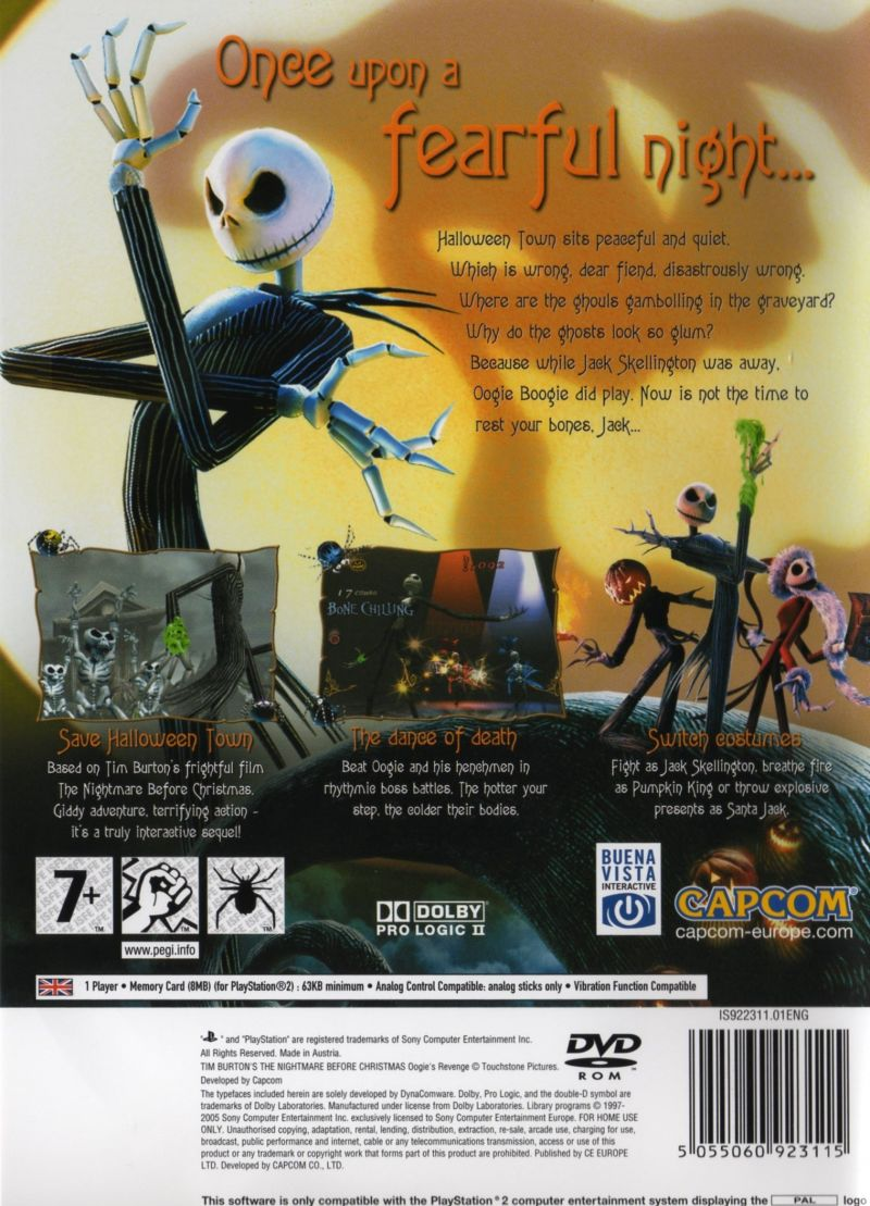 Tim Burton's The Nightmare Before Christmas: Oogie's Revenge PlayStation 2 Back Cover