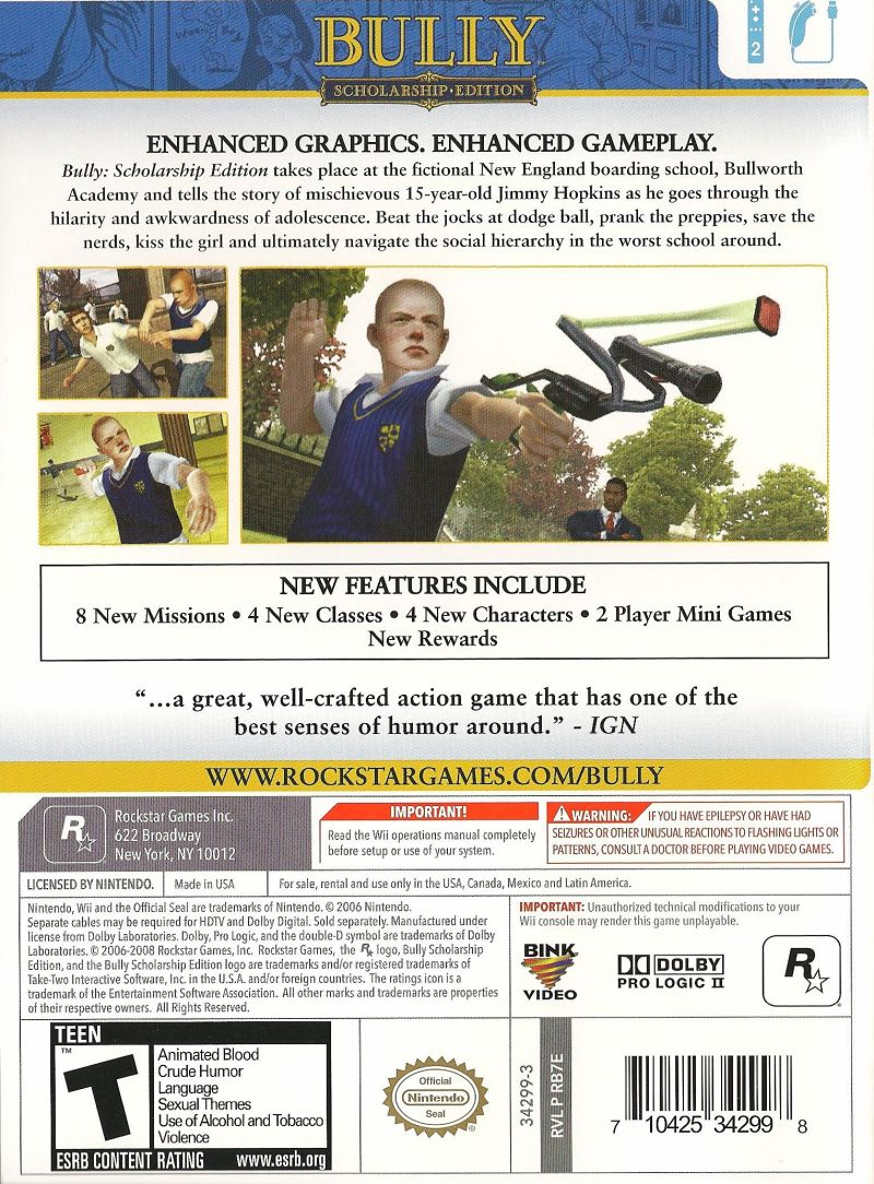 Bully: Scholarship Edition Wii Back Cover
