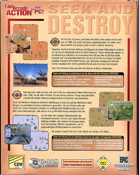 Seek and Destroy DOS Back Cover