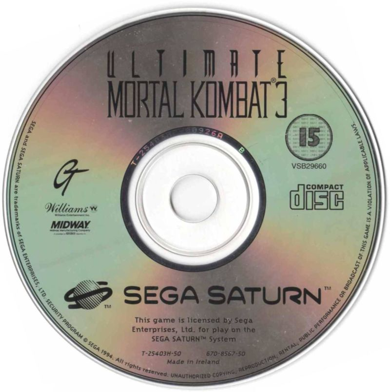 Ultimate Mortal Kombat 3 SEGA Saturn Media