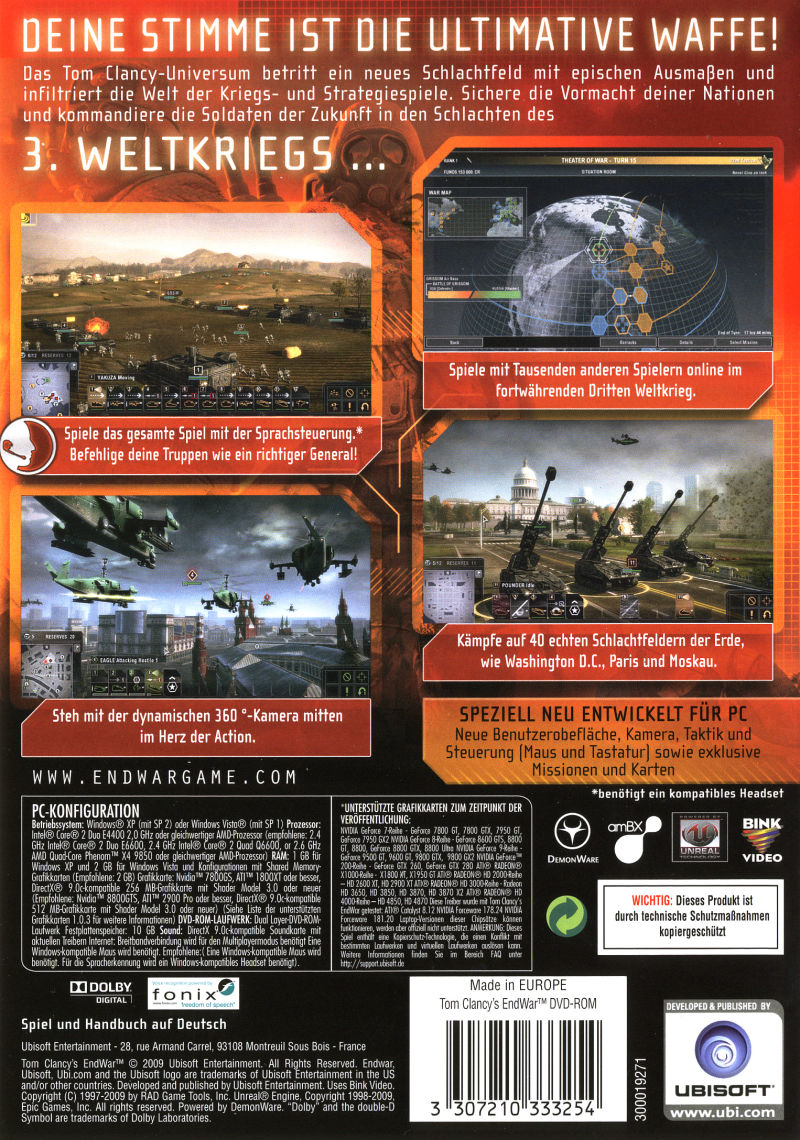 Tom Clancy's EndWar (Deluxe Edition) Windows Back Cover