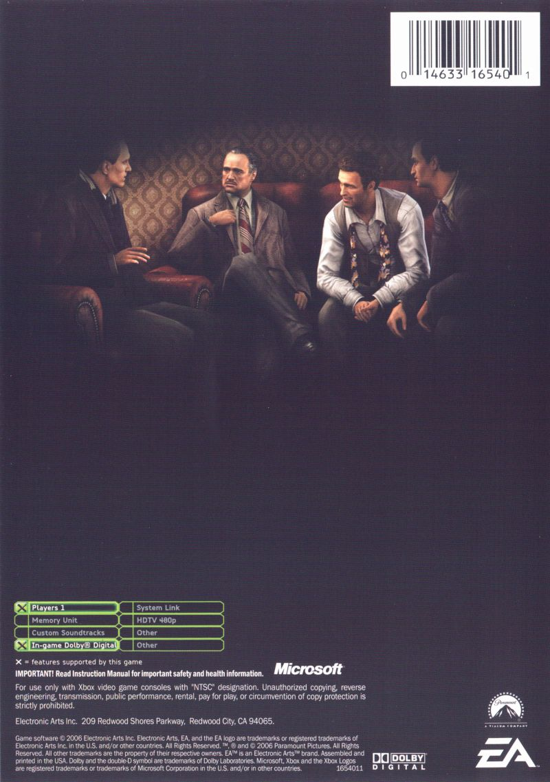 The Godfather (Limited Edition) Xbox Back Cover