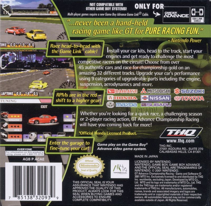 GT Advance Championship Racing Game Boy Advance Back Cover