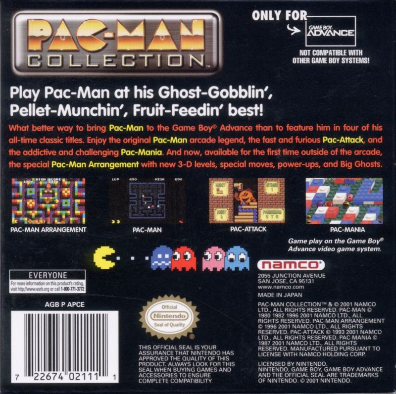 Pac-Man Collection Game Boy Advance Back Cover