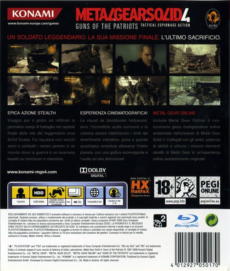 Metal Gear Solid 4: Guns of the Patriots (Limited Edition) PlayStation 3 Other Keep Case - Back