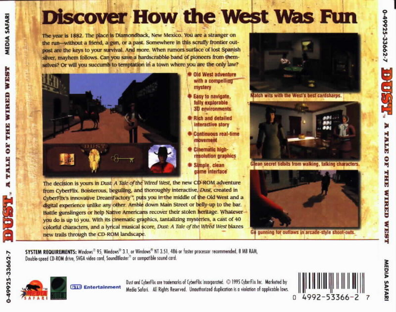 Dust: A Tale of the Wired West Windows 3.x Back Cover