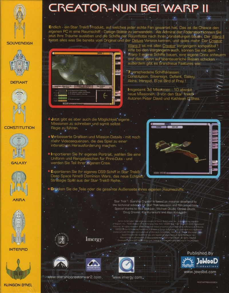 Star Trek: Starship Creator Warp II (2000) Windows box cover
