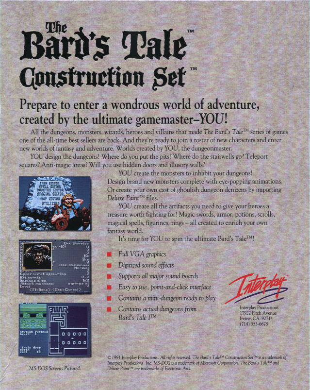 The Bard's Tale Construction Set DOS Back Cover