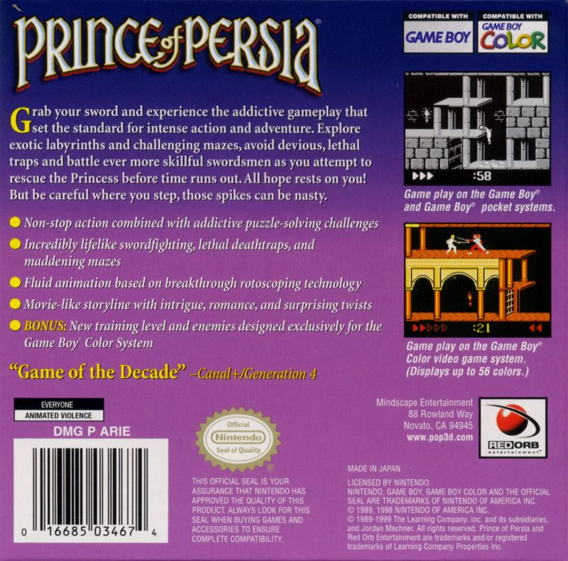 Prince of Persia Game Boy Color Back Cover