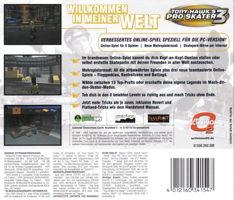 Tony Hawk's Pro Skater 3 Windows Other Jewel Case - Back