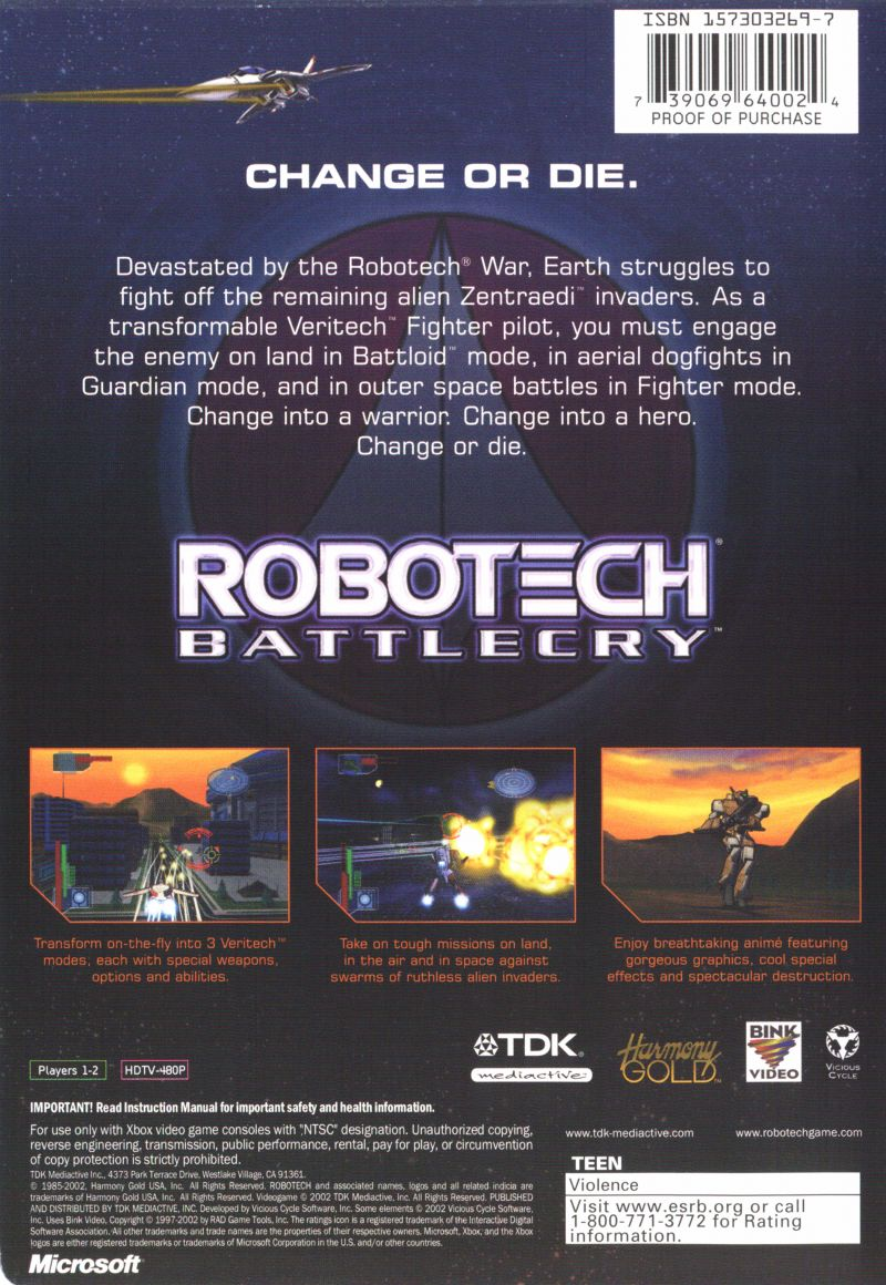 Robotech: Battlecry Xbox Back Cover