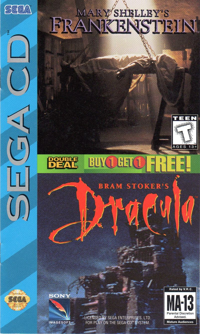 Mary Shelley's Frankenstein / Bram Stoker's Dracula SEGA CD Front Cover