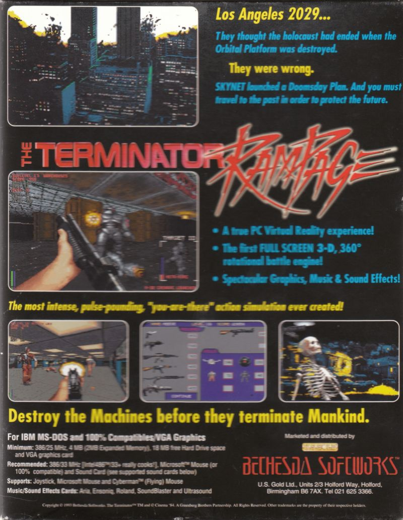 The Terminator: Rampage DOS Back Cover