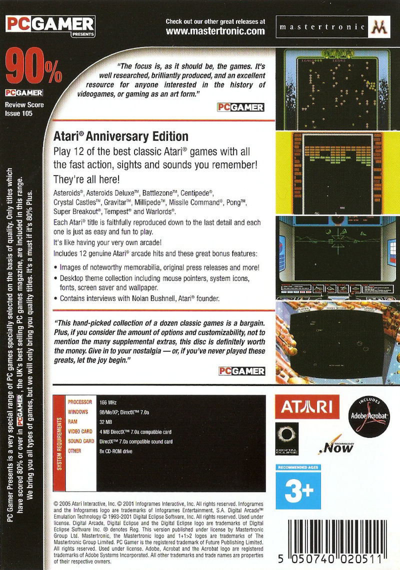 Atari: Anniversary Edition Windows Back Cover