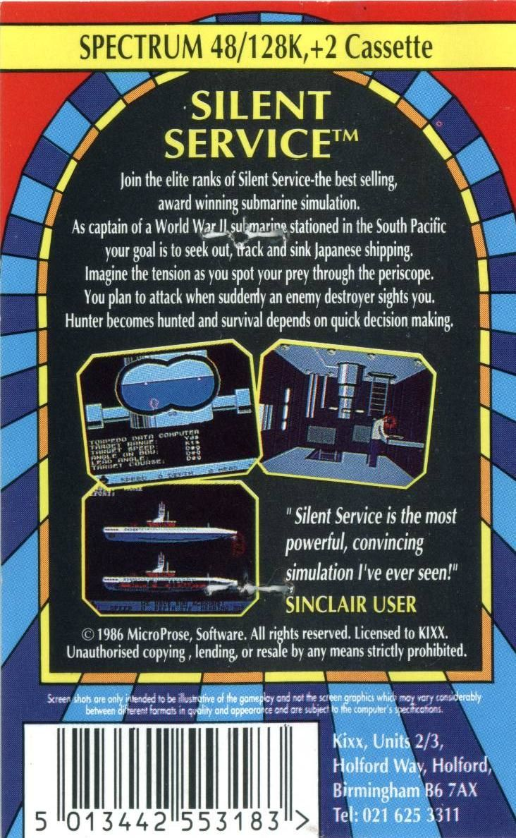 Silent Service ZX Spectrum Back Cover