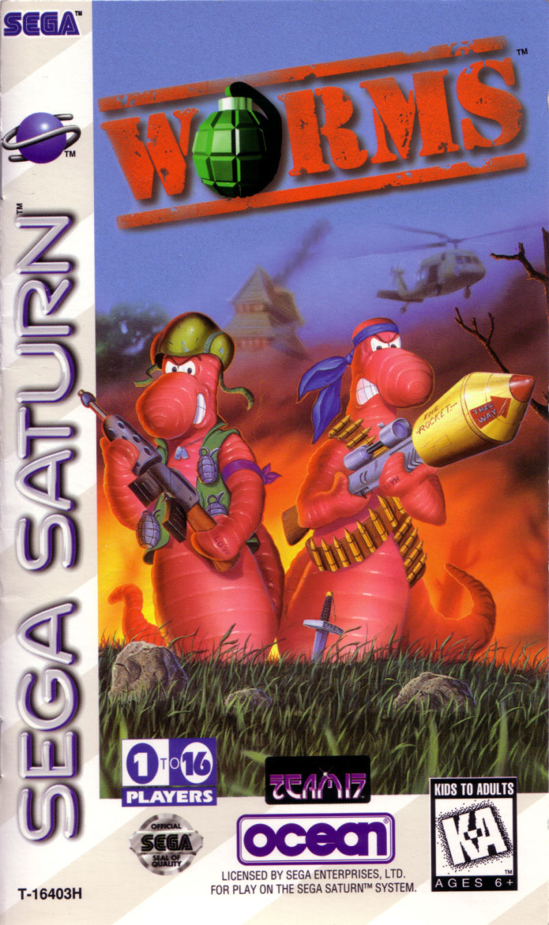 Worms SEGA Saturn Front Cover