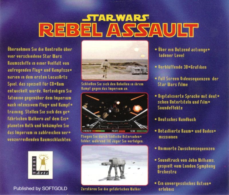 Star Wars: Rebel Assault DOS Other Jewel Case - Back