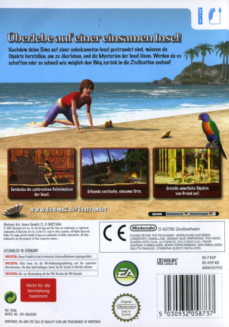 The Sims 2: Castaway Wii Back Cover