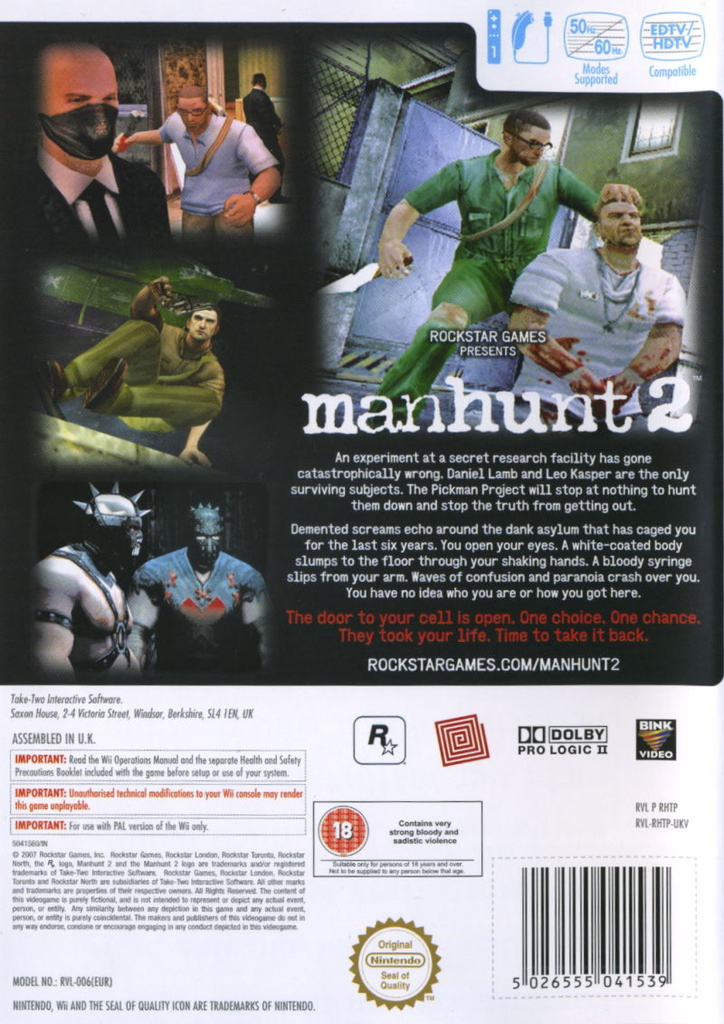 Manhunt 2 Wii Back Cover