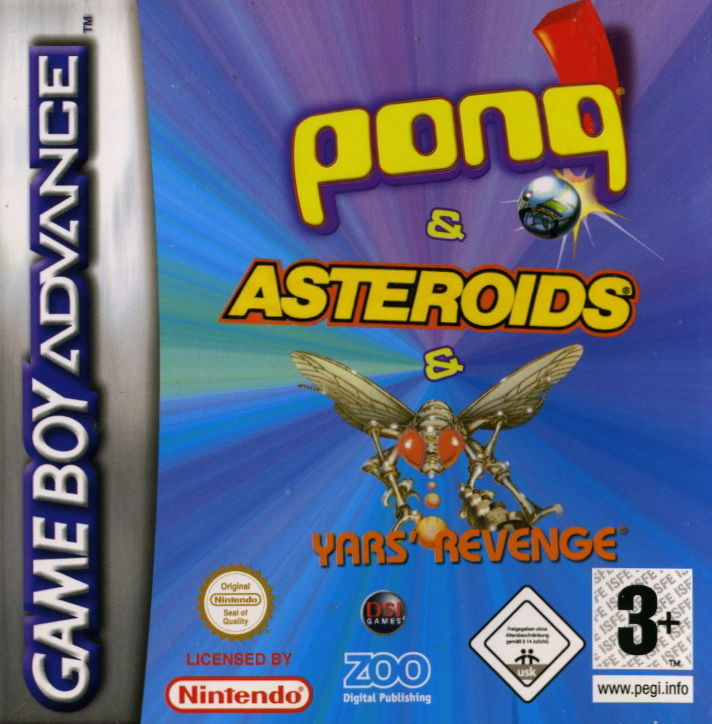 Asteroids / Pong / Yars' Revenge Game Boy Advance Front Cover
