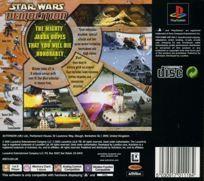 Star Wars: Demolition PlayStation Back Cover