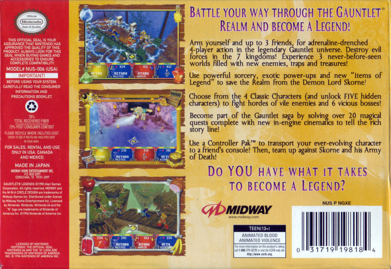 Gauntlet: Legends Nintendo 64 Back Cover