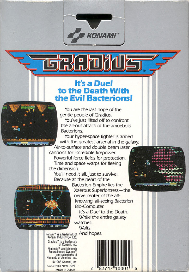 Gradius NES Back Cover