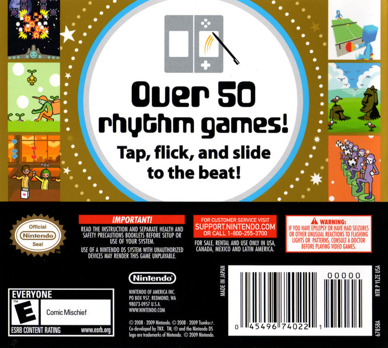 Rhythm Heaven Nintendo DS Back Cover