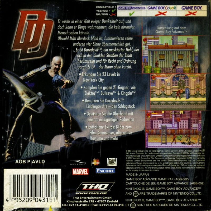 Daredevil Game Boy Advance Review Daredevil Game Boy Advance