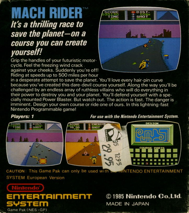 Mach Rider NES Back Cover