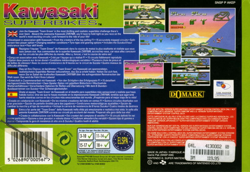 Kawasaki Superbike Challenge SNES Back Cover