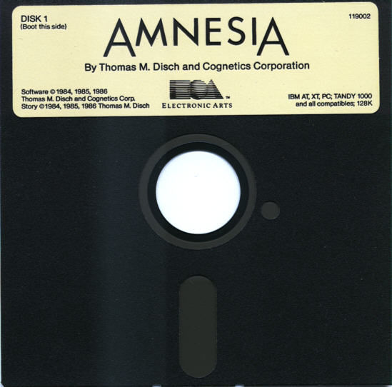 "Amnesia PC Booter Media 5.25"" Disk 1 of 2"