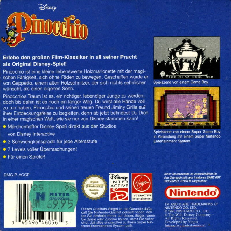 Pinocchio Game Boy Back Cover