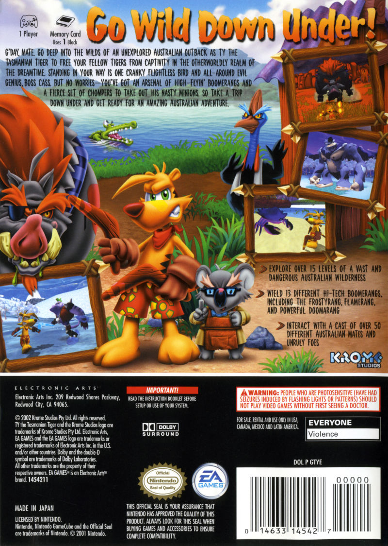 Ty the Tasmanian Tiger GameCube Back Cover