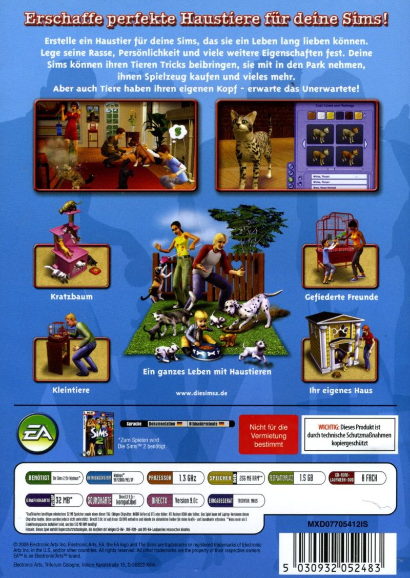The Sims 2: Pets Windows Back Cover