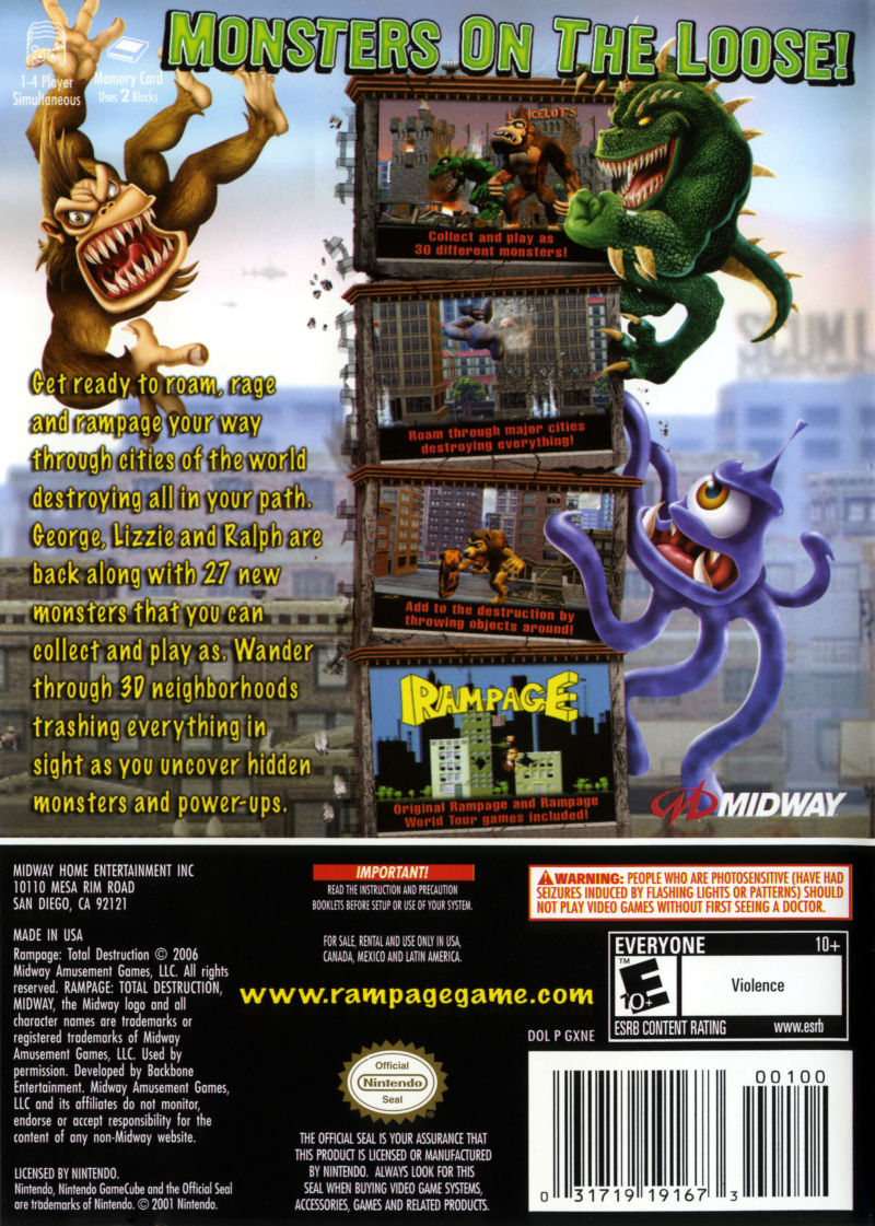 Rampage Total Destruction 2006 Gamecube Box Cover Art Mobygames