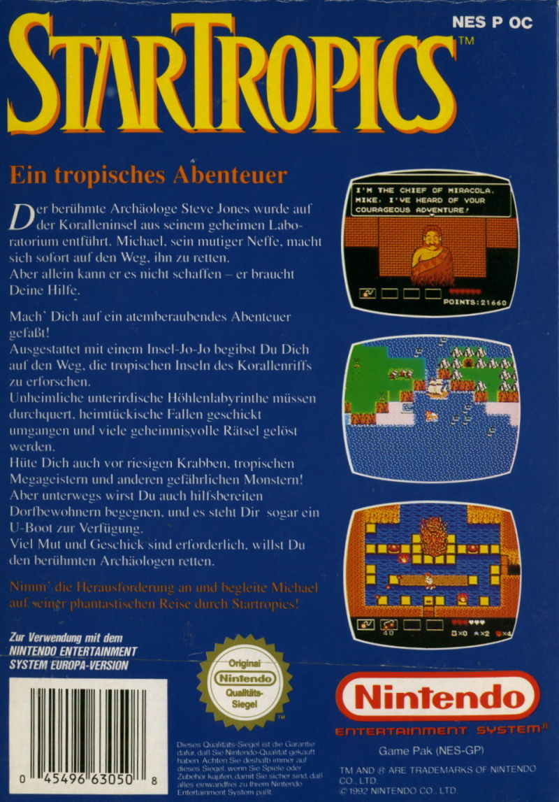 StarTropics NES Back Cover