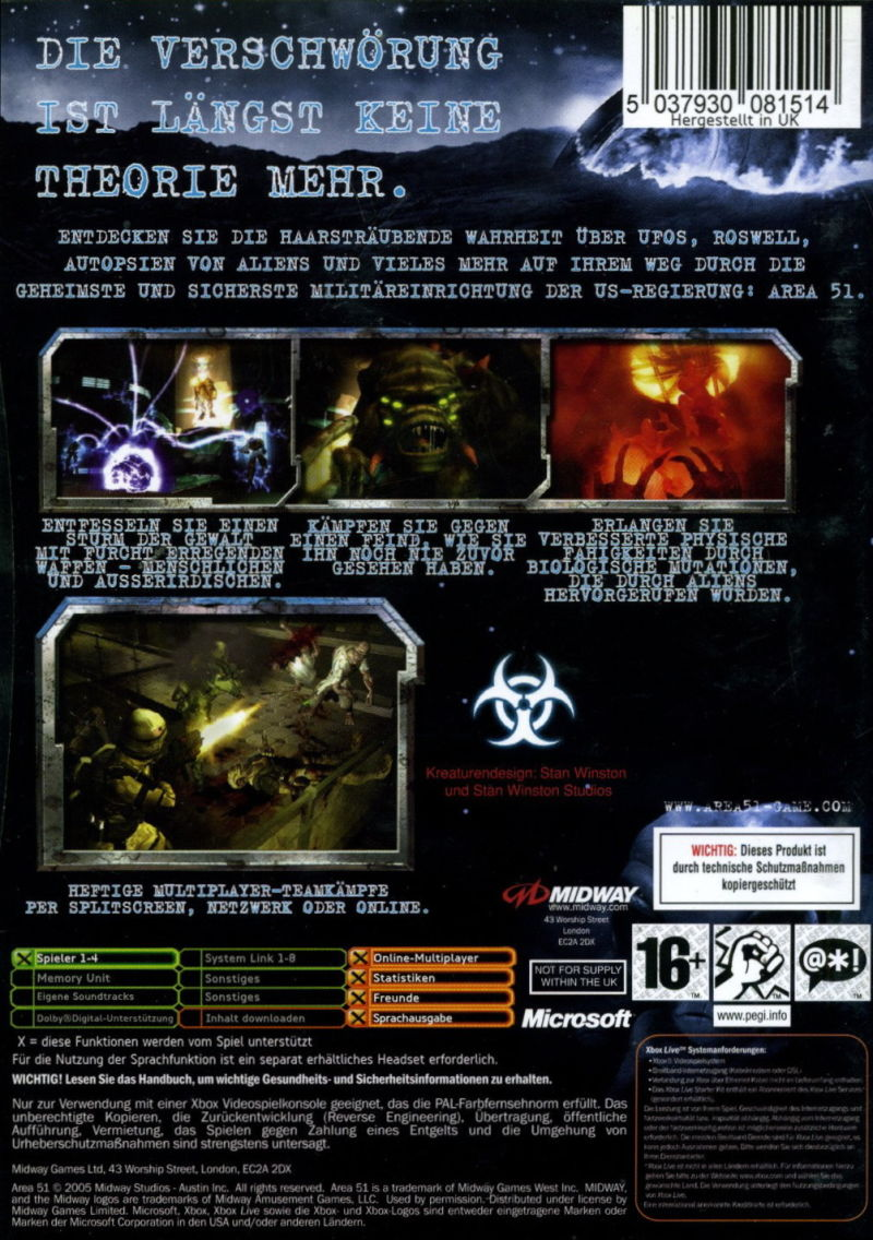Area-51 Xbox Back Cover