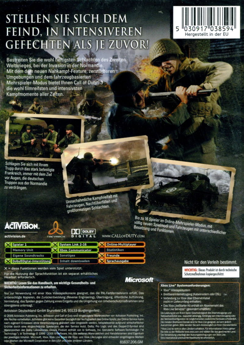 Call of Duty 3 Xbox Back Cover