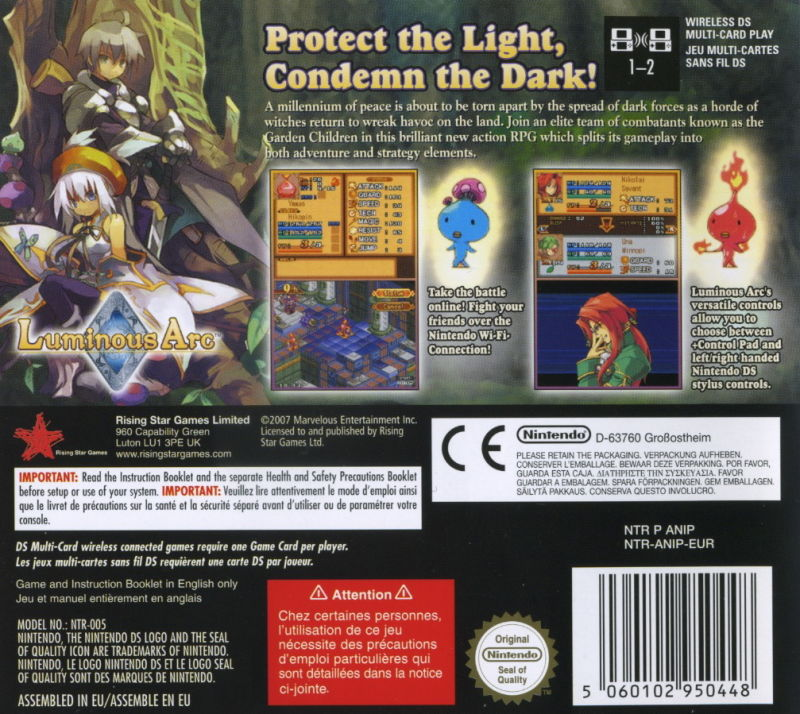 Luminous Arc Nintendo DS Back Cover