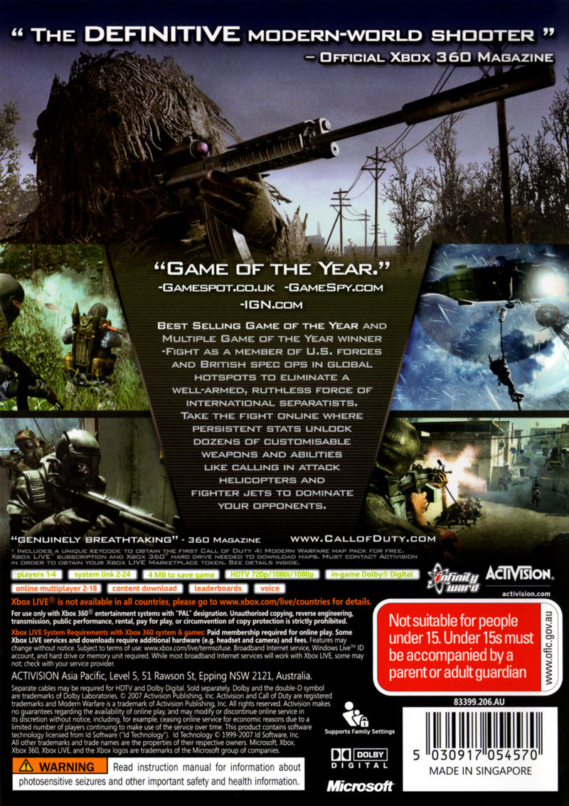 Xbox 360 Game Cover Back Call of Duty 4: Modern...