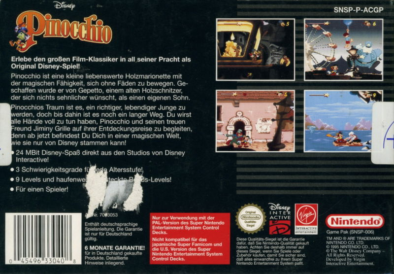 Pinocchio SNES Back Cover