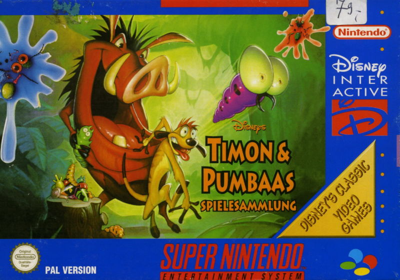 Disney's Timon & Pumbaa's Jungle Games SNES Front Cover