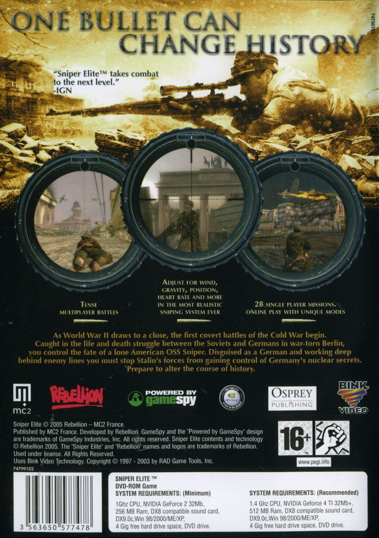 Sniper Elite Windows Back Cover
