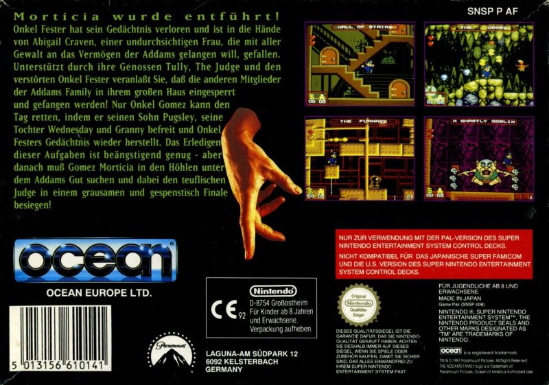 The Addams Family SNES Back Cover