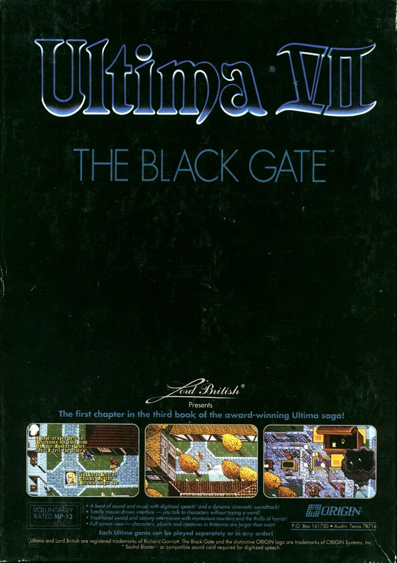 Ultima VII: The Black Gate DOS Back Cover